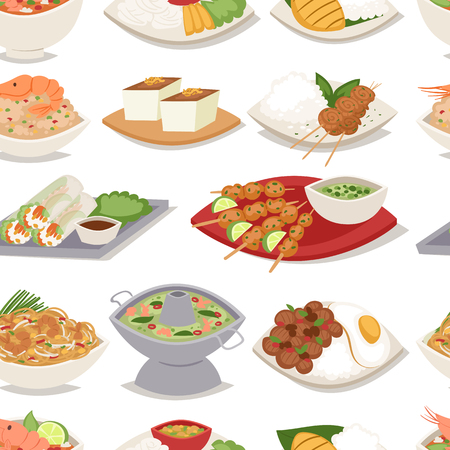 Traditional thai food asian plate cuisine thailand seafood cooking seamless pattern background vector illustration. Illustration