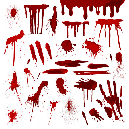 Blood or paint splatters splash spot red stain blot patch liquid texture drop grunge abstract dirty mark vector illustration Illustration