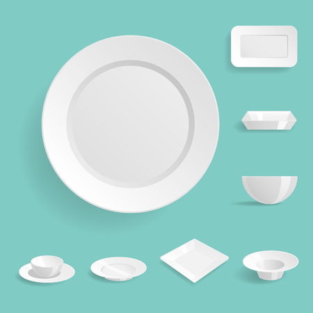 Empty white plates set isolated vector illustration templates dinner design blank clean tableware Vector Illustration