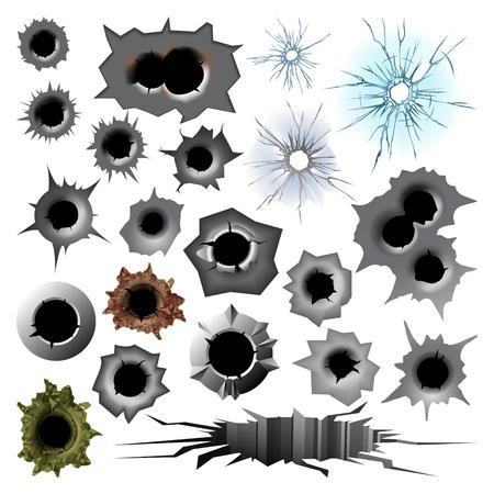 Bullet hole track trace sign gunshot crack torn steel war target break vector illustration.