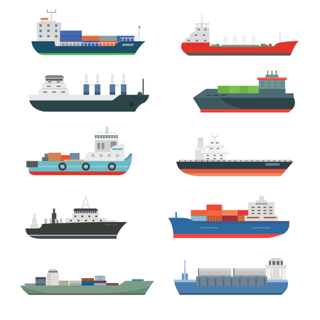화물 선박 및 유조선 배송 배달 대량 캐리어 기차화물 보트 유조선 절연 벡터 일러스트 레이션