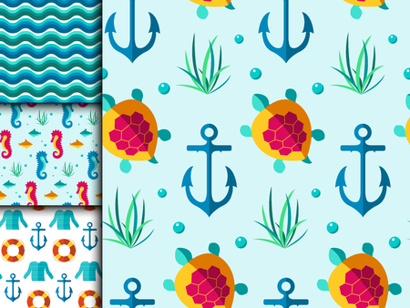dinghy: Seamless vector patterns with nautical elements wave marine collection paper sea background