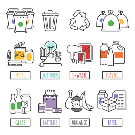 Different recycling garbage waste types sorting processing, treatment remaking trash utilize icons vector illustration. Stok Fotoğraf - 80043196