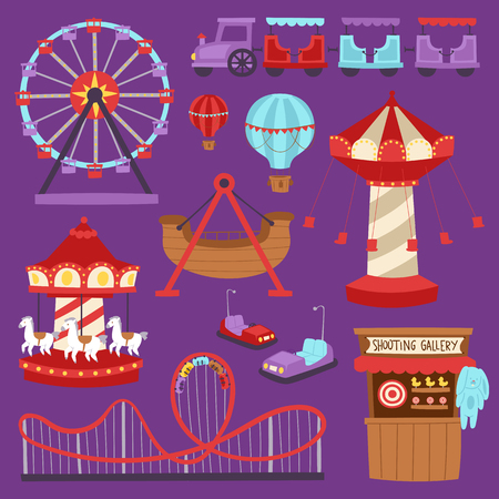 Carousels amusement attraction side-show kids park construction vector illustration.