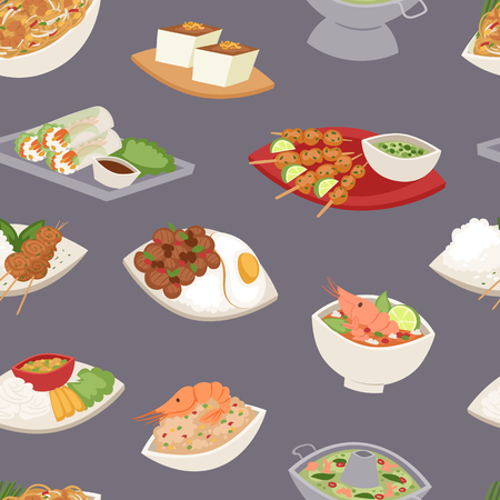 Traditional thai food asian plate cuisine thailand seafood cooking seamless pattern background vector illustration. Stock Photo