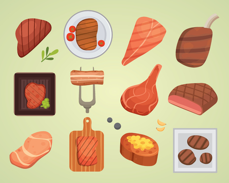 Different beef steak raw and grilled meat food barbecue bbq ingredient vector illustration