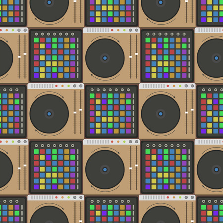 overdrive: Creative modern musical instrument concept midi launchpad seamless pattern equipment vector illustration.
