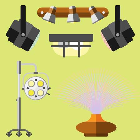 illuminator: Flat electric lantern city lamp street urban lights fitting illuminator technology light bulb electricity vector illustration.