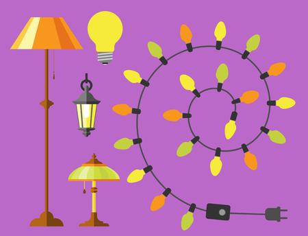 fitting: Flat electric lantern city lamp street urban lights fitting illuminator technology light bulb electricity vector illustration.