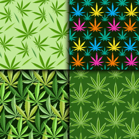 narcotic: Green marijuana background vector illustration seamless pattern marihuana leaf herb narcotic textile. Illustration