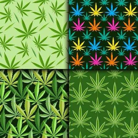 legalize: Green marijuana background vector illustration seamless pattern marihuana leaf herb narcotic textile. Illustration