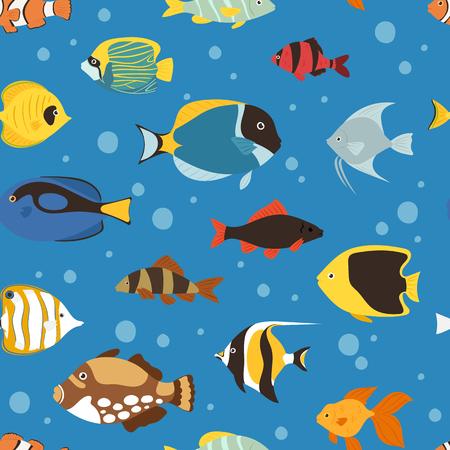 Exotic tropical fish underwater ocean or aquarium aquatic nature seamless pattern background vector Vectores