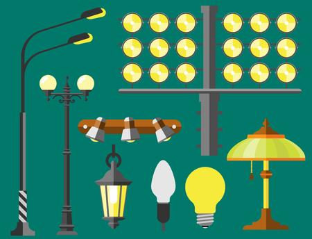 Flache elektrische Laterne Stadt Lampe Straße Stadt Lichter Montage Illuminator Technologie Glühbirne Strom Vektor-Illustration.