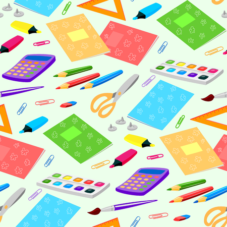vibrant paintbrush: School or office supplies educational accessories vector illustration seamless pattern background