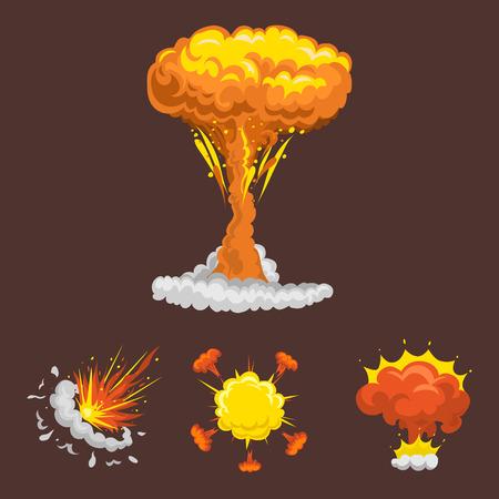 Storyboard: Cartoon explosion boom effect animation game sheet explode burst blast fire comic flame vector illustration. Illustration