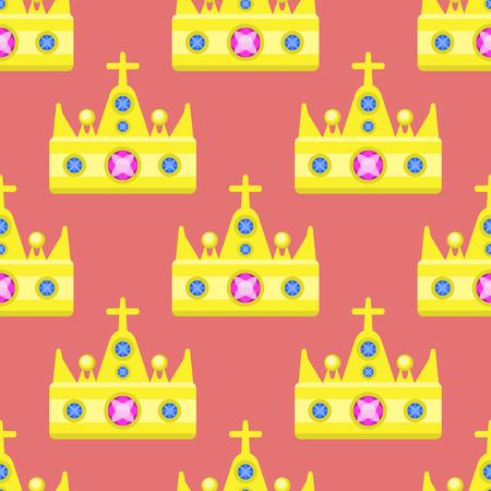 gemstone: Vector illustration golden crown seamless pattern gemstone gold majestic decoration and kingdom jewelry