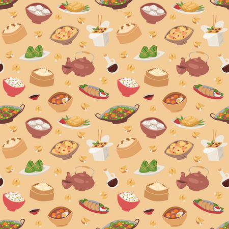 Chinese traditional food steamed dumpling asian delicious seamless pattern vector Stock Vector - 80283092