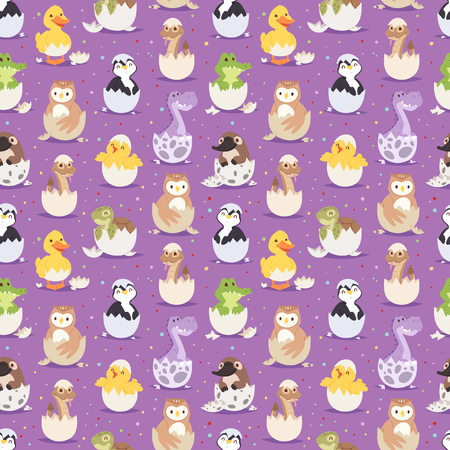 Cute new born animals in eggs easter seamless pattern background