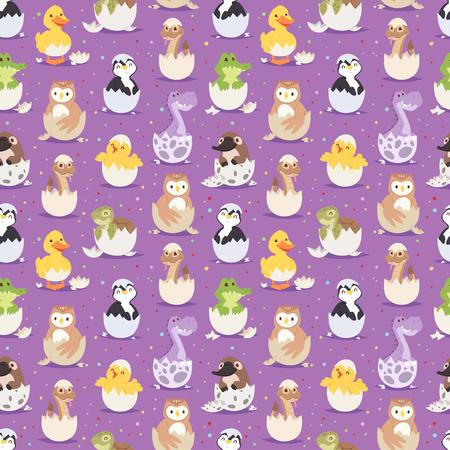 Mignons nouveaux animaux nés dans les oeufs de Pâques sans soudure de fond Banque d'images - 80283091