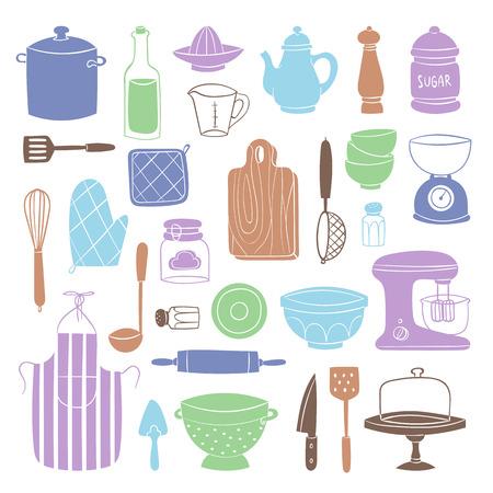 Kitchen utensils food kitchenware cooking set domestic tableware vector illustration isolated Illustration