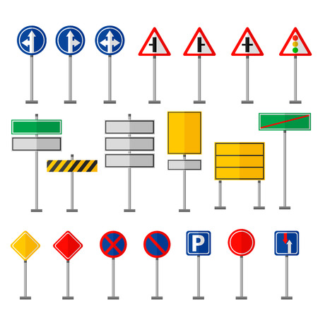 traffic pole: Road symbols traffic signs graphic elements isolated city construction creative street highway information vector illustration