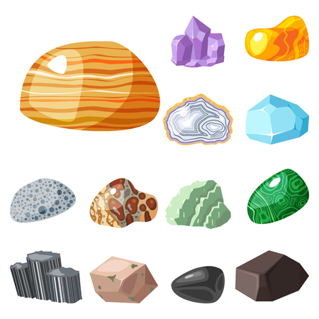 onyx: Semi precious gemstones stones and mineral stone isolated dice colorful shiny crystalline vector illustration Illustration