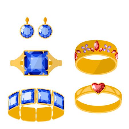 gemstone: Traditional golden jewellery bangles diamond luxury fine minute precious gold jewelery vector illustration
