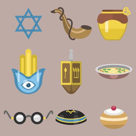 Judaism church traditional symbols isolated hanukkah religious synagogue passover hebrew jew vector illustration. Illustration