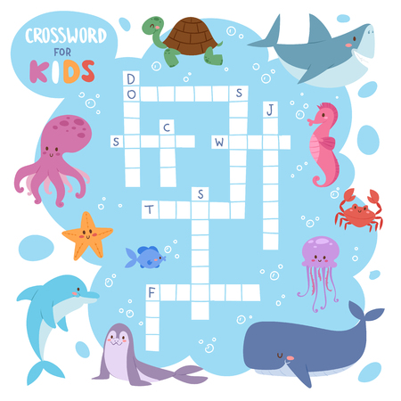 Kids magazine book puzzle game of sea underwater ocean fish and animals logical crossword worksheet colorful printable vector Illustration. Illustration