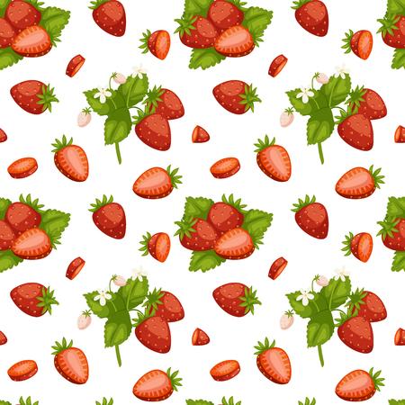 Dessin animé frais fraise fruits modèle sans couture berry été design vector illustration. Vecteurs