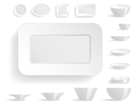 vintage dishware: Empty white plates set isolated vector illustration templates dinner design blank clean tableware