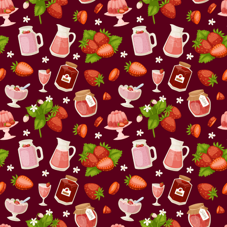 Confectionery desserts strawberry pink delicious product fruit healthy red berry seamless pattern vector illustration background Illustration