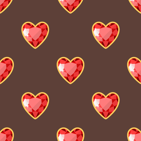 Red heart golden jewellery seamless pattern diamond luxury fine minute precious gold jewelery vector illustration.