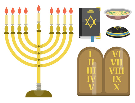 menora: A Judaism church traditional symbols isolated hanukkah religious synagogue passover hebrew jew vector illustration.