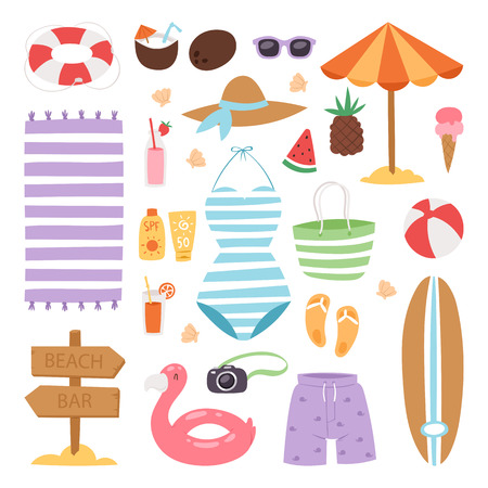 Summer fashion beach sea time swimsuit clothes and accessories vector illustration vacation bathing suit looks image design. Shopping fashion image looks casual beauty hipster swimsuit.