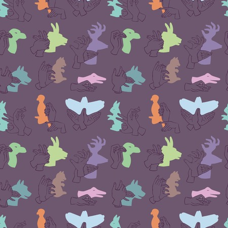 Hands gesture like different animals from shadow seamless pattern vector illustration background