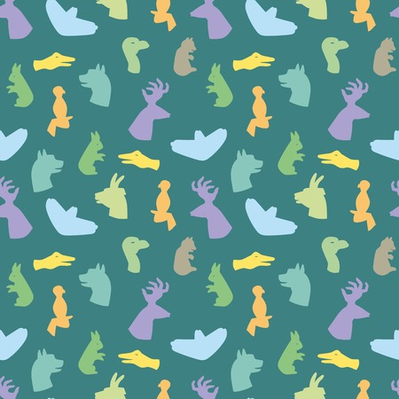 silueta de gato: Hands gesture like different animals from shadow seamless pattern vector illustration background