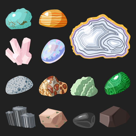 mineral stone: Semi precious gemstones stones and mineral stone isolated dice colorful shiny crystalline vector illustration Illustration