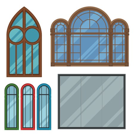 Different types house windows elements flat style frames construction decoration apartment vector illustration. Stock Photo