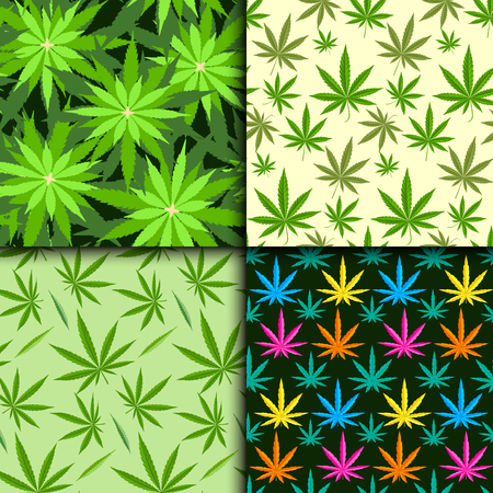 narcotic: Green marijuana background vector illustration. Seamless pattern marihuana leaf herb narcotic textile. Grass medical agriculture addictive weed nature forbidden.
