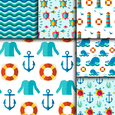 dinghy: Seamless vector patterns with nautical elements wave collection paper. Ocean sea vector blue texture wallpaper marine seamless patterns. Water nautical element abstract marine seamless patterns.