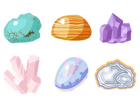 Halfedelbare edelstenen stenen en minerale steen geïsoleerd dobbelstenen kleurrijke glanzende kristallijne vector illustratie. Minerale steen sieraden agaat geologie natuur kristallisatie halfedelst.