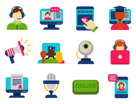 distant: Set of flat design icons for online education video tutorials staff training book store learning research knowledge vector illustration. Internet technology distance profession service web concept.