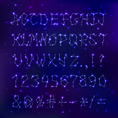Font space constellation alphabet typeface script star geometry design typographic abstract letters symbols vector illustration. 向量圖像