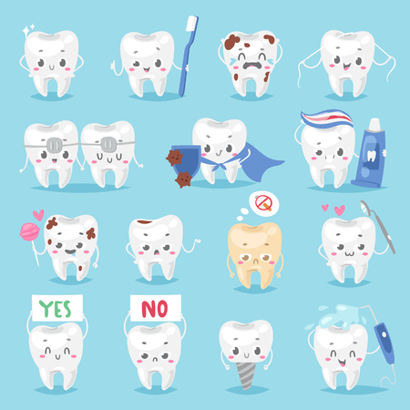 personage: Tooth character personage dental clinic mascot with a toothbrush smiling different human pose vector illustration