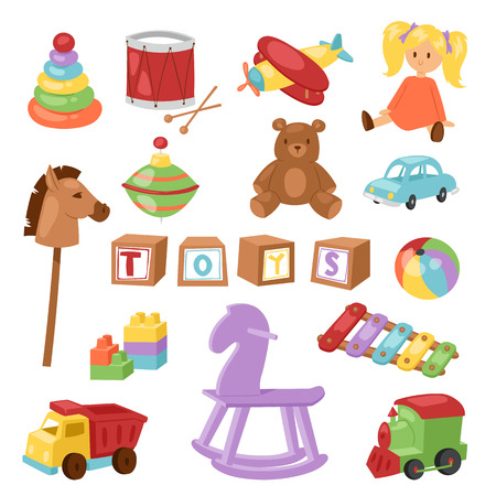 playfull: Set of different cartoon vector kids toys collection isolated on white background playfull children stuff