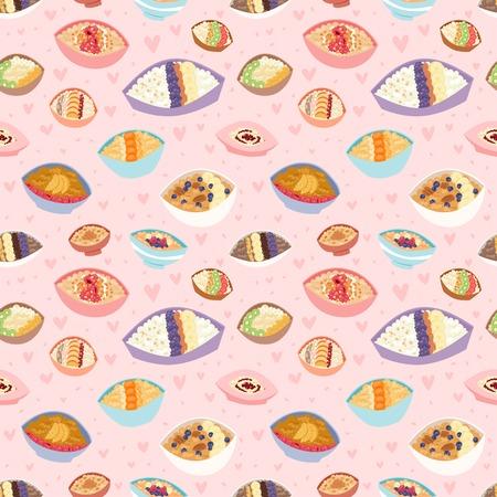 만화 원활한 패턴 건강 한 오트밀 죽 kasha pap 아침 시리얼 식사 벡터 일러스트 레이 션.
