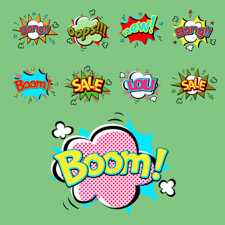 Pop art comic speech bubble boom effects vector explosion bang communication cloud fun humor illustration Illustration