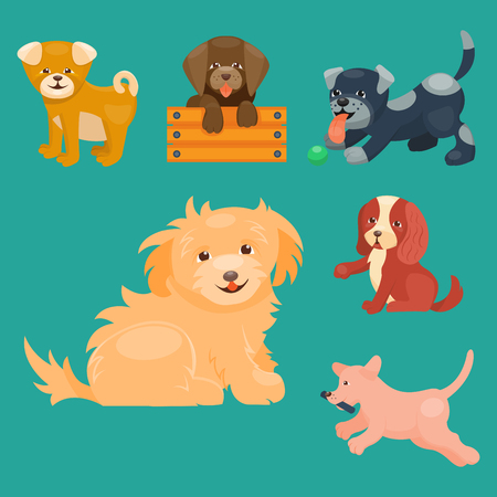 dog: Vector illustration cute playing dogs characters funny purebred puppy comic happy mammal breed