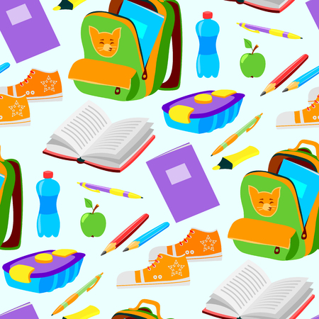 rucksack: School or office supplies educational accessories vector illustration seamless pattern background
